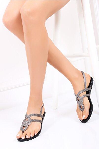 Deripabuc Hakiki Deri Platin Kadın Deri Sandalet Dp53-0015