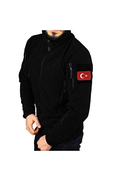 Silyon Askeri Giyim Askeri Tip Siyah Taktik Polar Mont 5 Cepli Ve Türk Bayrağı Peç