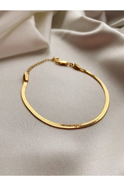 Mathilda Aksesuar Yassı Italyan Zincir Kaplama Bileklik Gold