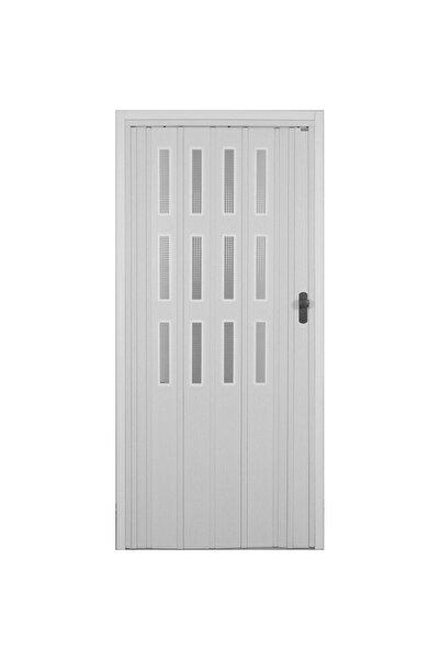 SARPAŞ Katlanır Akordiyon Pvc Tek Kapı Camlı - 86x205 - Beyaz 12 Mm