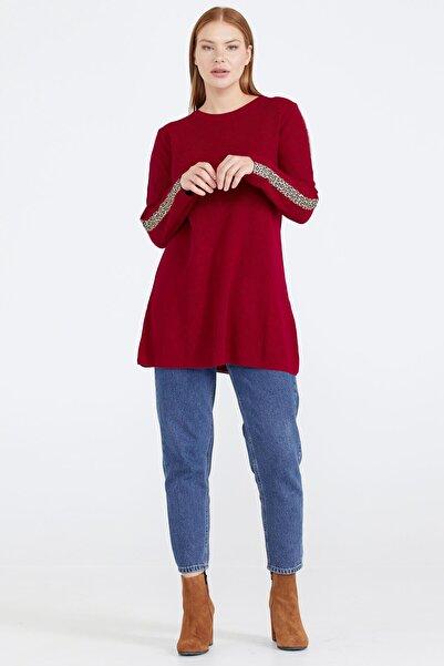 Sementa Kadın Kolları Leopar Şeritli Triko Tunik - Kırmızı