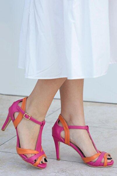 Mio Gusto Octavia Fuşya Turuncu Topuklu Ayakkabı