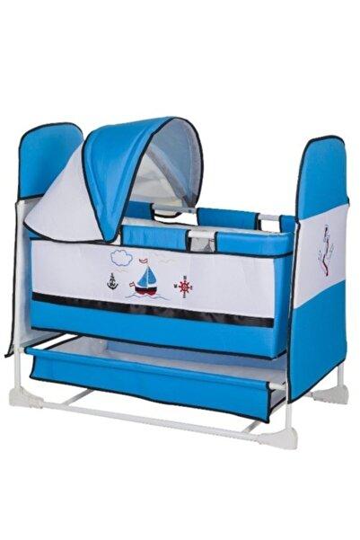 ModernAVM Yeni Model Anne Yanı Sallanır Park Yatak Bebek Beşiği Mavi