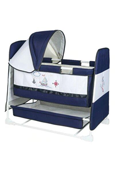 ModernAVM Yeni Model Anne Yanı Sallanır Park Yatak Bebek Beşiği Lacivert