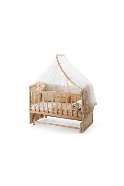 Heyner Ahşap Beşik Anne Yanı Beşik Sallanır Beşik Organik 60x120 + Krem Prens ( Erkek ) Uyku Seti + Yatak