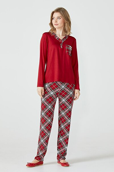 Sementa Ekose Desenli Cepli Kadın Pijama Takımı - Kırmızı
