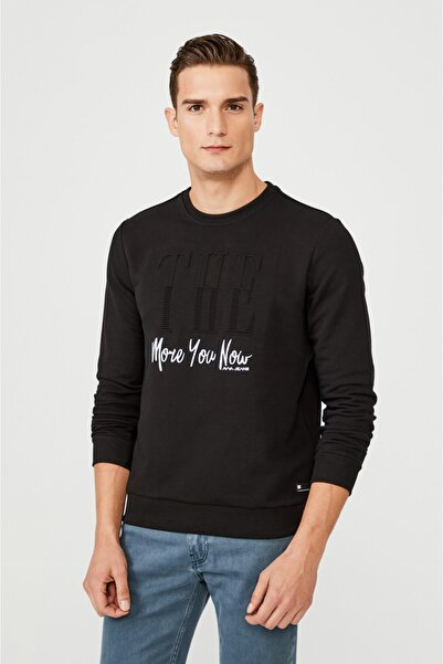 Avva Erkek Siyah Bisiklet Yaka Gofre Baskılı Sweatshirt A02y1083