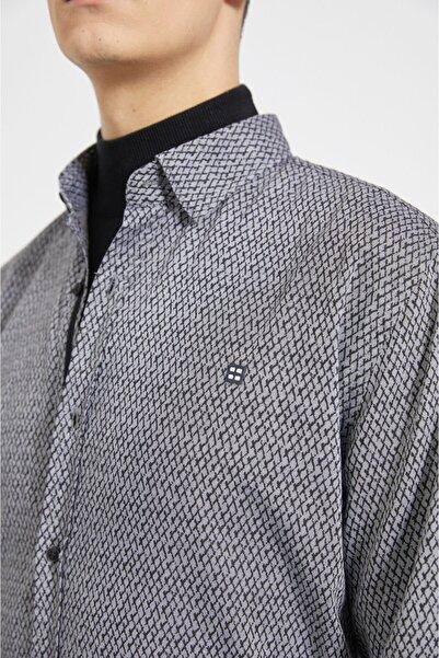 Avva Erkek Gri Baskılı Alttan Britli Yaka Slim Fit Garnili Gömlek A02y2159