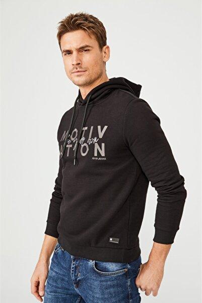 Avva Erkek Siyah Kapüşonlu Yaka Nakışlı Sweatshirt A02y1084