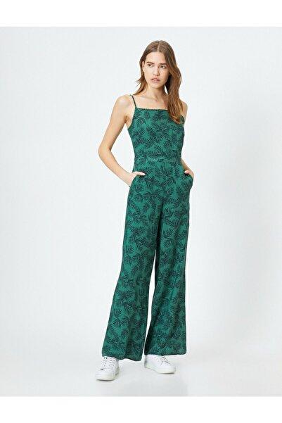 Koton Kadın Yeşil Desenli Tulum 0YAK48659PW