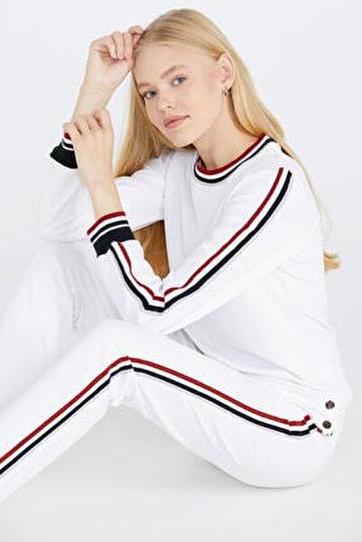 Şerit Çizgili Kadın Eşofman Takımı - Beyaz
