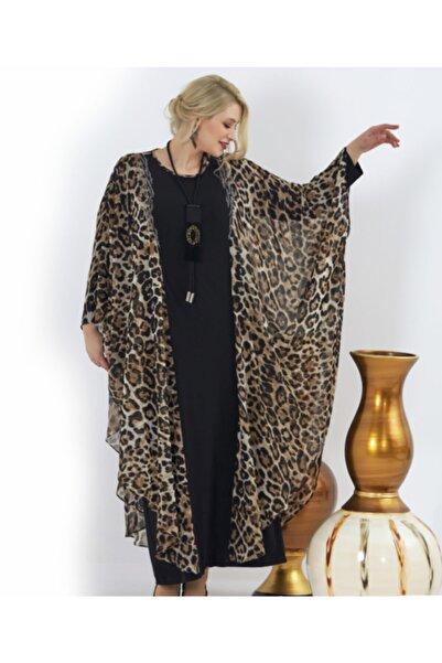 Femina Büyük Beden Leopar Detaylı Şifon Elbise