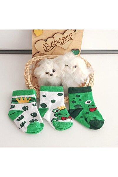 bebegen Kurbağa 3 Lü Erkek Bebek Çorap Seti
