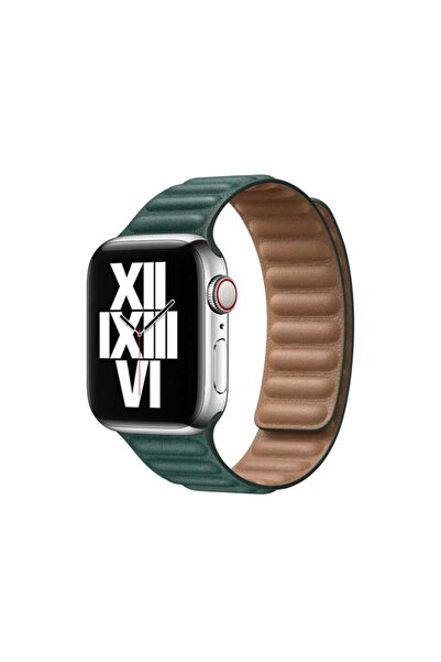zore Apple Watch 40 Mm Saat Kordon Suni Deri Parçalı Çizgili Tasarım Ayarlanabilir Renkli Mıknatıslı