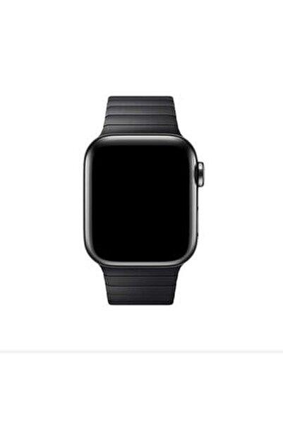 Apple Watch 44 Mm Kordon Çizgili Ayarlanabilir Otomatik Klipsli Metal Saat Kordun