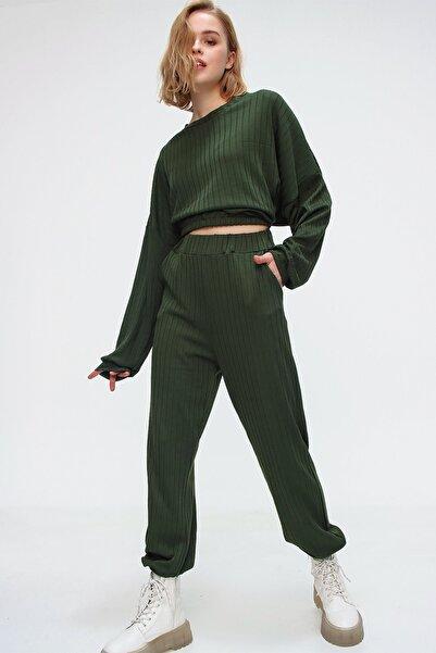 Trend Alaçatı Stili Kadın Yeşil Beli Lastikli Eşofman Takım ALC-507-509-FT