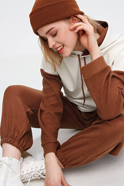 Trend Alaçatı Stili Kadın Tarçın Renk Bloklu Kapüşonlu Polar Eşofman Takım ALC-X5588
