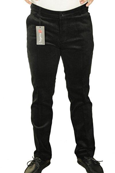 FAGETTO PANTOLON Erkek Siyah Kışlık Kadife 8 Fitil Yan Cep Klasik Kesim Pantolon