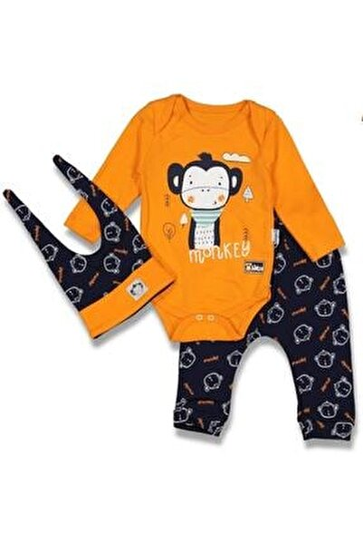 Erkek Bebek Turuncu Maymunlu 3'lü Takım