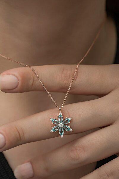 Nereze 925 Ayar Aquamarin Taşlı Çiçek Kolye Kadın Gümüş Kolye