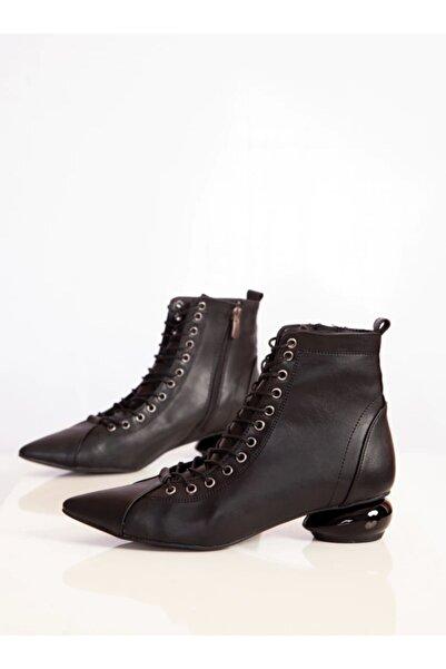 ayakkabıhavuzu Kadın Bot - Siyah Cilt - Ayakkabı Havuzu