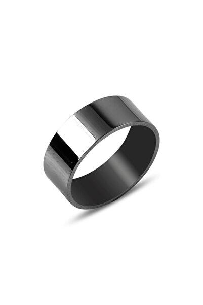 Zuk Collection Gümüş Siyah Rodajlı Düz Sade Alyans