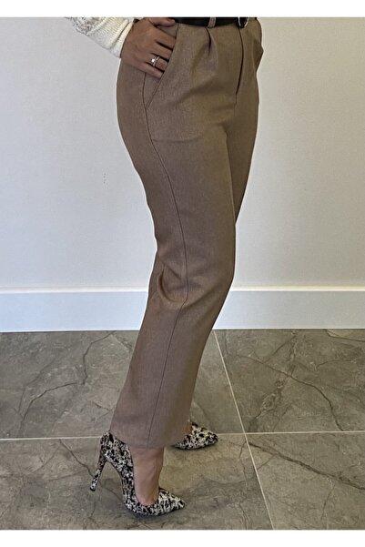 Nisan Triko Kadın Havuç Kesim Beli Lastikli Kemerli Pantolon