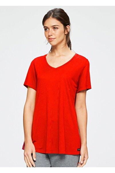 Dagi Kadın Kırmızı V Yaka Modal Kısa Kol T-shırt
