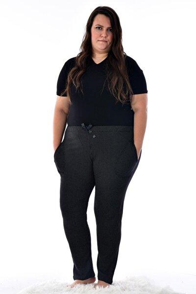 Pijamoni Kadın Siyah 424-10 Büyük Beden Desenli Cepli Tek  Pijama Altı