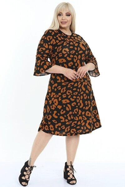1fazlası Kadın Büyük Beden Kahve Siyah Volan Kol Krep Kumaş Elbise