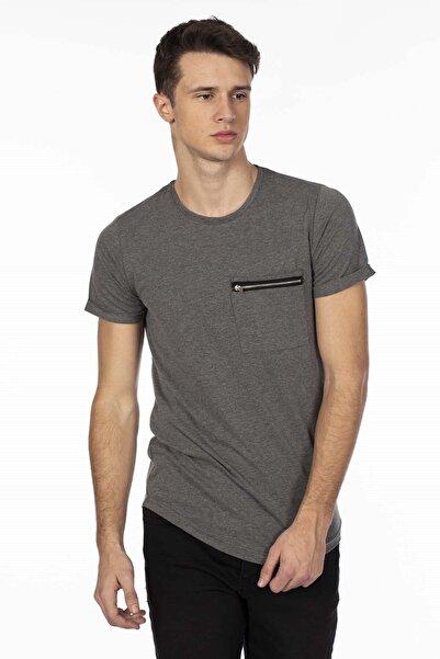 BARRELS AND OIL Cebi Fermuarlı Basic T-shirt-antrasit