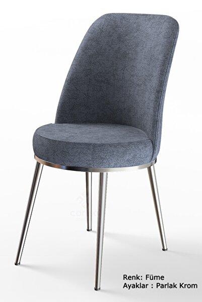 Canisa Concept Dexa Serisi Füme Renk Sandalye Mutfak Sandalyesi, Yemek Sandalyesi Ayaklar Parlak Krom