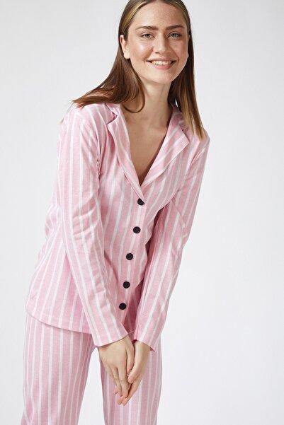 Happiness İst. Kadın Pembe Çizgili Pamuklu Penye Pijama Takımı BY00026