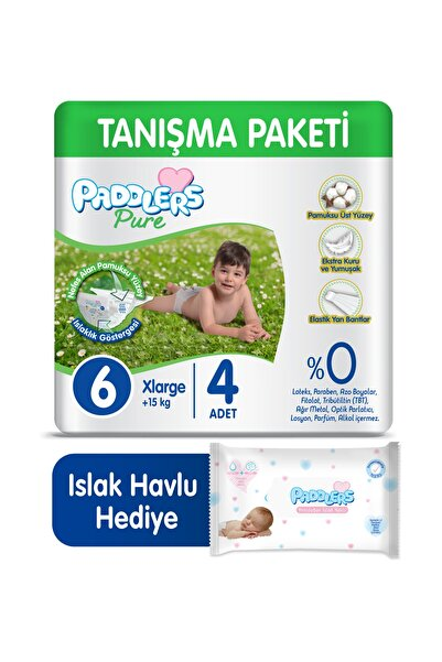 Paddlers Pure 6 Beden 4 Adet Bebek Bezi + 40'lı Islak Havlu