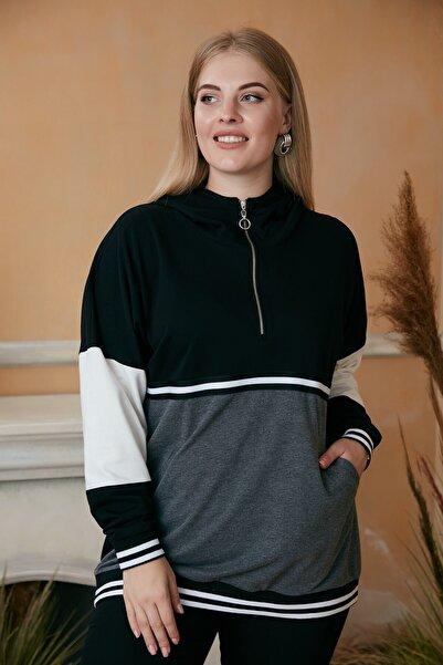 RMG Şerit Detaylı Fermuarlı Büyük Beden Siyah Sweatshirt