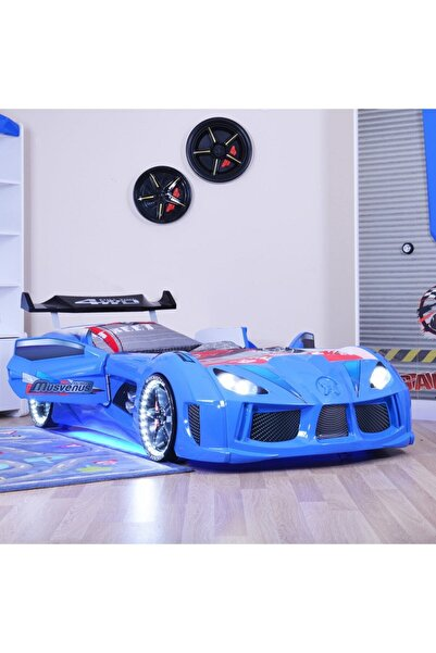 Setay Audi Arabalı Yatak Full Ledli Rüzgarlıklı Mavi