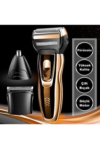 yopigo (Bal-gold) Saç Sakal Tıraş Makinesi Erkek Bakım Kiti Kulak Burun Kıl Kesme Ense Yanak Traş