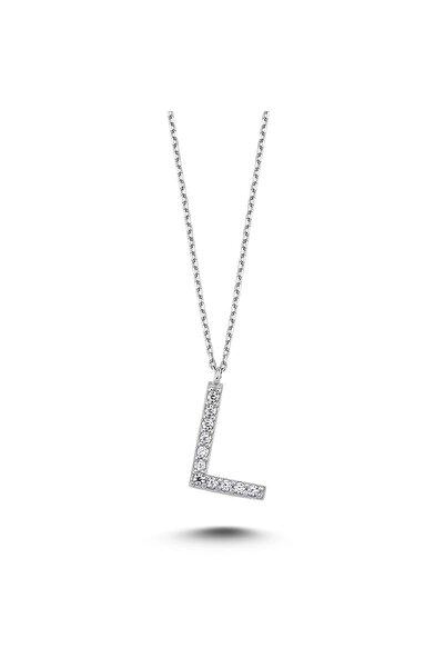 Bulvardi Harfli Gümüş Kolye Taşlı - L Harfi - Standart - Alv009-2222