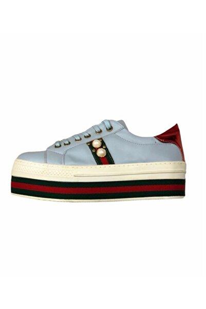 Pınar Shoes Kadın Turkuaz Kalın Taban Ayakkabı