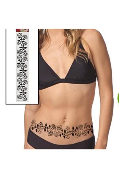 BAHELS Kadın Siyah Renk Çiçek Detaylı Lüx Flash Tattoo Omuz Bel Kol Bacak Göbek Geçici Dövme