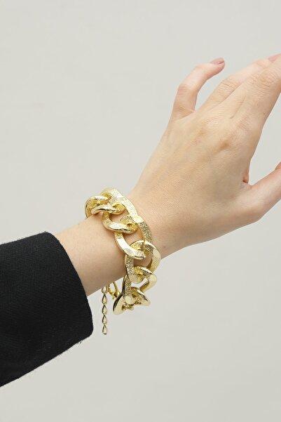 Marjin Kadın Altın Renkli Dövme Desen İri Zincir Bileklik