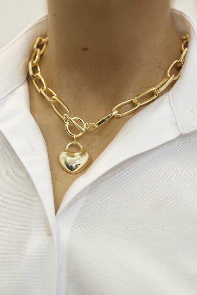 Marjin Kadın Altın Renkli Kalp Figürlü Zincir Kolye