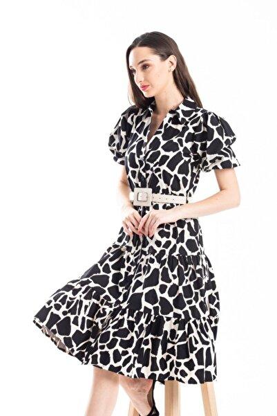 Flow Desenli Kemerli Elbise