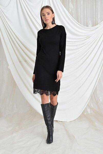 TENA MODA Kadın Siyah Etek Ucu Dantel Triko Elbise