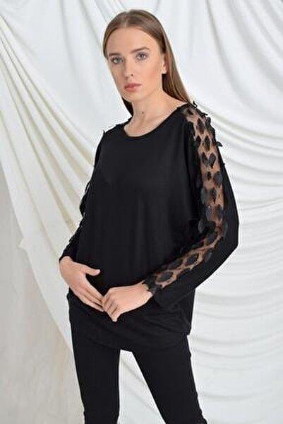 Kadın Siyah Kolu Yapraklı Çilek Bluz