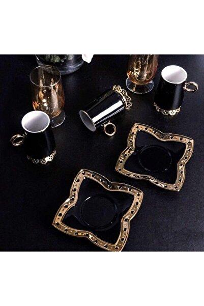 Sembol Metal Ayaklı Siyah 6lı Kahve Fincanı