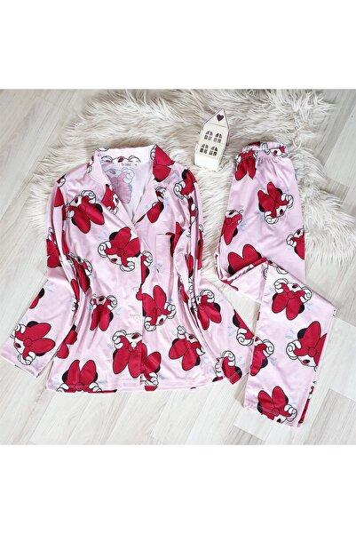 NO BRAND Gömlek Yaka Pembe Minnie Mouse Desenli Süprem Pijama Takımı