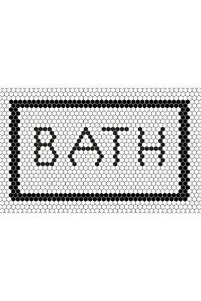 Ekru Zemin Bath Yazılı Halı
