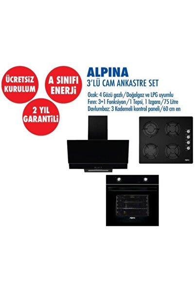 Alpina Siyah Statik Cam Ankastre Set