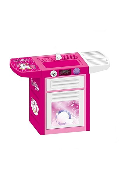 Dolu Unicorn Sesli Pembe Lavabolu Bulaşık Makinesi